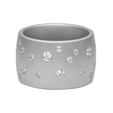 58 Edelstahlring mit Steinen 3mm Silber Nr