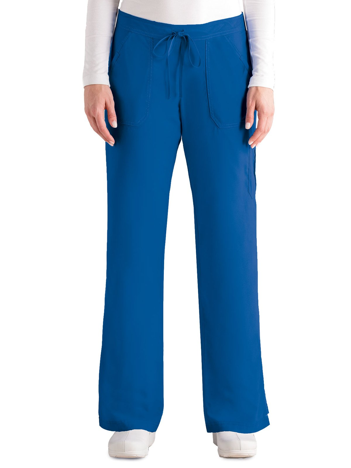 Grey's Anatomy Women's 4245 Junior Fit 4-Pocket Elastic Back Scrub Pants, New Royal, Medium/Petite