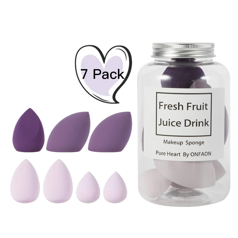 Makeup Beauty Blender Sponge Set, Beauty Blending Sponge Water Drop/Tear Drop Makeup Sponges Flawless for Foundation & Powders 7 Pcs (Purple)