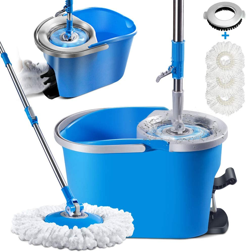 Mop and Bucket Set with Foot Pedal Masthome Microfiber Spin Mop for Floor Cleaning,33 Microfiber Mop Refills /& 1 Floor Brush Head