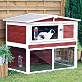 Trixie 62325 Rabbit Hutch with Peaked Roof, Medium, Red/White