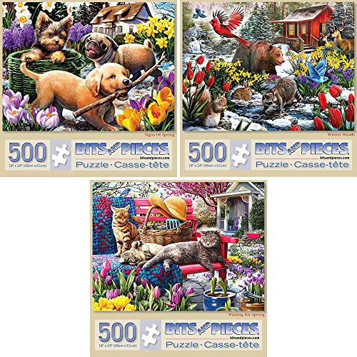 (Bits and Pieces - Value Set of Three (3) 500 Piece Jigsaw Puzzles for Adults - Each Puzzle Measures 18