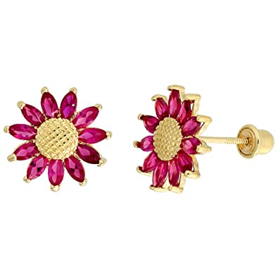 86263c2c4 Image Unavailable. Image not available for. Color: 14k Gold Sunflower Stud  Earrings Red Cubic Zirconia Stones ...