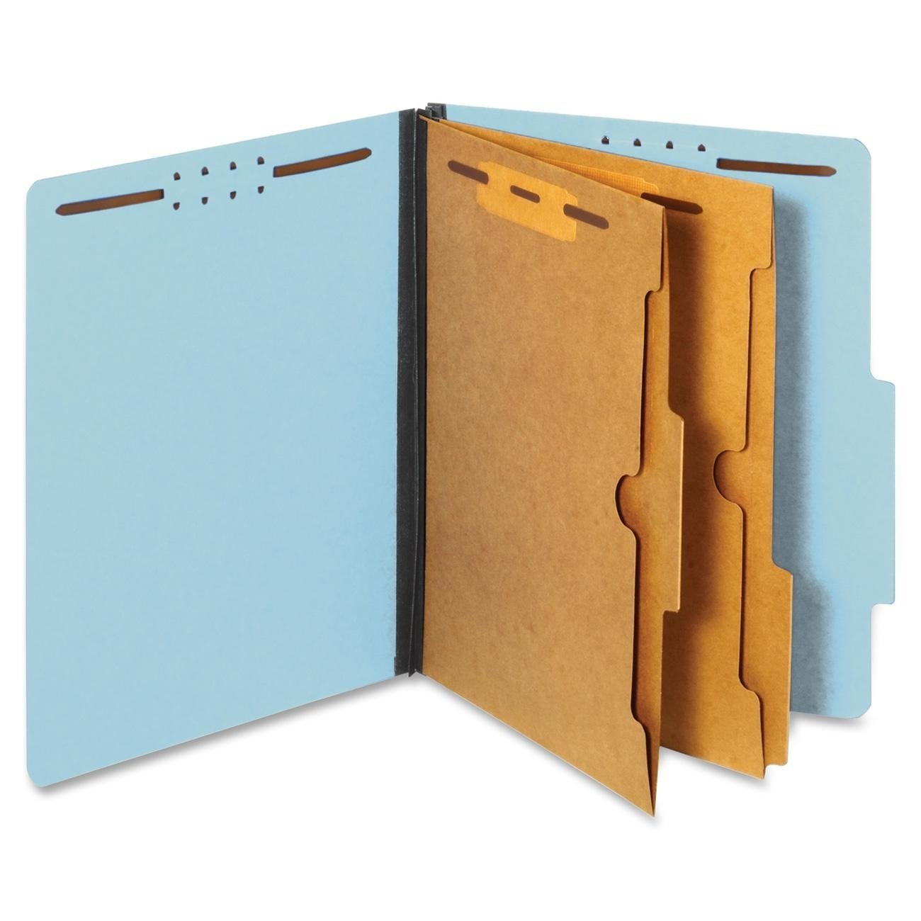 Generic Classification Folders, 2/5 Cut Tab, 2 Pocket Dividers, Embedded Fasteners, Letter Size