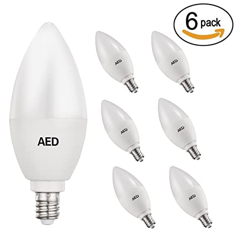AED Lighting LED Candelabra Bulb, 50-Watt Light Bulbs Equivalent ...