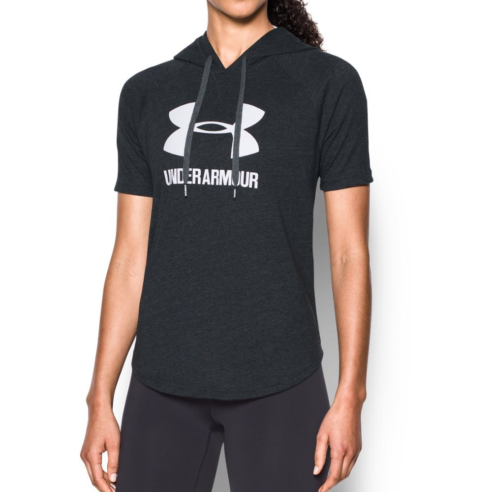 Under Armour Women's Sportstyle Short Sleeve Hoodie, Black (001)/White, X-Small