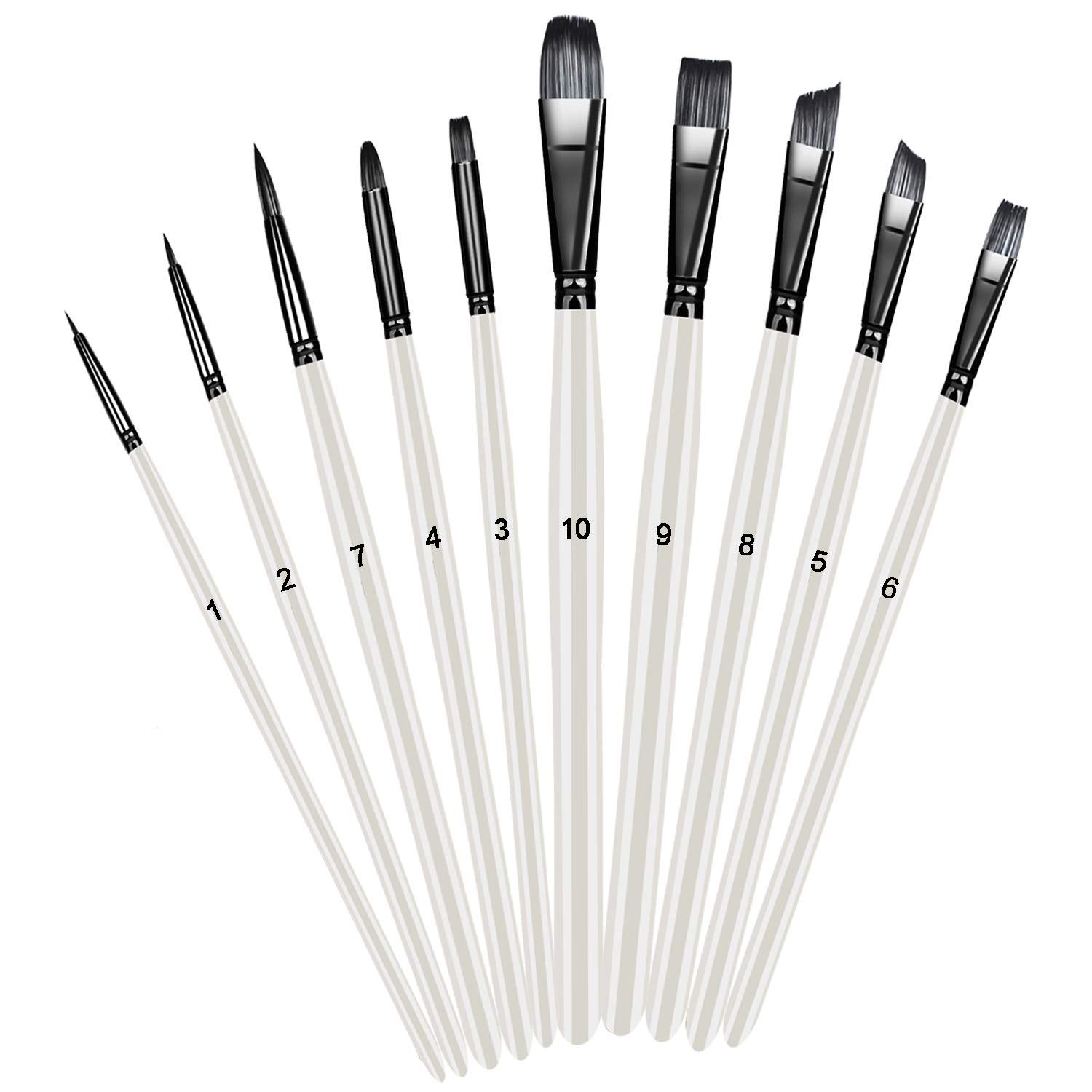 Paint Brushes Xpassion Handmade Professional Acrylic Brush 10 Pieces for Acrylic Watercolor Oil Painting, Pearl White