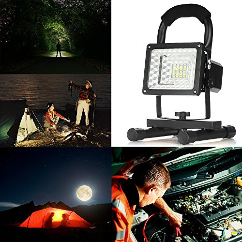 [15W 24LED] Spotlights Work Lights Outdoor Camping Lights, Built-in Rechargeable Lithium Batteries (With USB Ports to charge Mobile Devices) (Black)