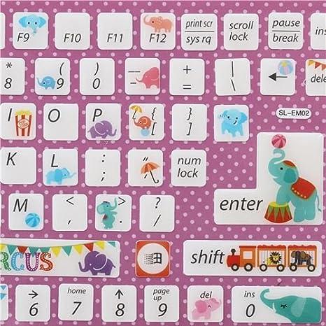 Pegatinas teclado computadora kawaii elefante circo de Japón: Amazon.es: Juguetes y juegos