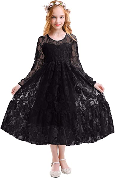 Flower Girl Dress Tulle Bridal Lace With Flower Detailing Wedding Size 4-14