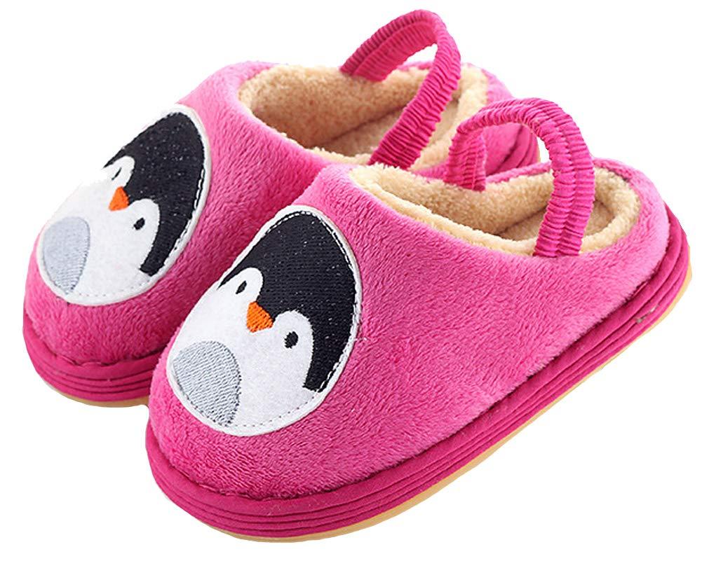 Toddler Kid's Penguin/Lion Winter House Shoes Velvet Soft Bootie Slipper (12 M Little Kid, Penguin-Pink)