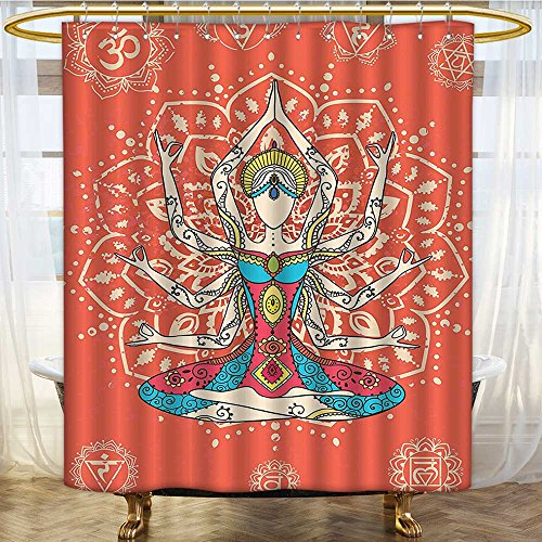 Mikihome Shower Curtains Waterproof Yoga Yoga Technique with