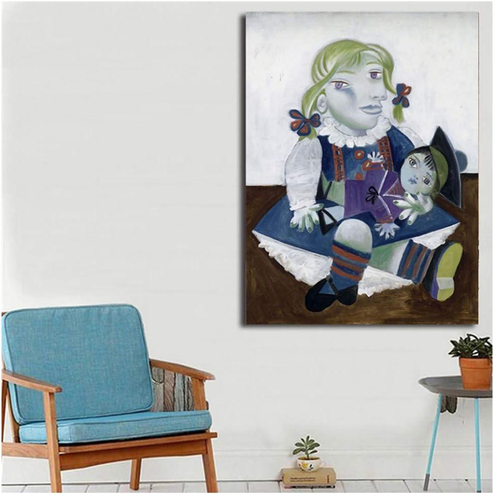 nr Pablo Picasso Maya con una muñeca Arte de la Pared Carteles de la Lona Impresiones Pintura al óleo Cuadros de la Pared para el Dormitorio Decoración Moderna del hogar -50x70cm sin Marco