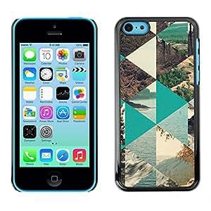 For Apple iPhone 5C Case , Nature Polygon Sea Forest Lake - Diseño Patrón Teléfono Caso Cubierta Case Bumper Duro Protección Case Cover Funda