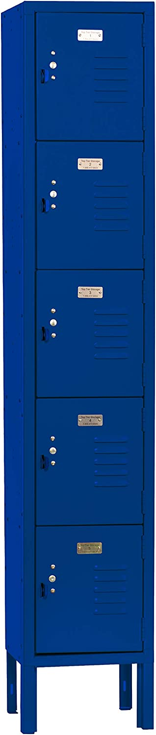 Gym Garage or Lockers for Employees Office Five Tier Box Locker 12-Inch Wide 5-Feet High 12-Inch Deep Unassembled Metal Locker 5 Doors with Louvers 12W x 12D x 66H Perfect for School