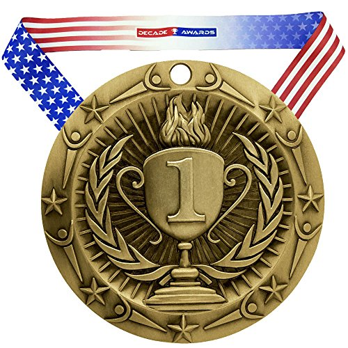 Decade Awards 1st Place World Class Medal, Gold - 3 Inch Wide First Place Medallion with Stars and Stripes American Flag V Neck Ribbon -