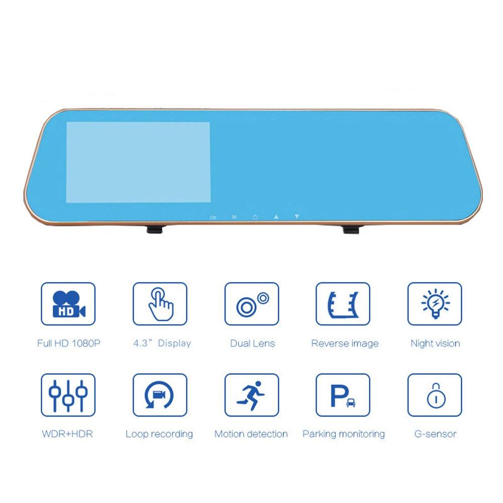 Cámara de visión delantera y trasera para el coche, tacógrafo, vídeo 1080P Full HD, con sensor G, 4,3 pulgadas, 170 grados: Amazon.es: Coche y moto