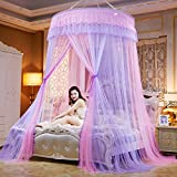 Lustar Court Style Mosquito Net Bed Canopy For Children Fly Insect Protection Indoor Decorative Height 280cm Top Diameter 1.5m,Purple