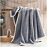 HAPLL Soft Decorative Fleece Cozy Warm Flannel Fluffy Beautiful Color Throw Blanket for Bed or Couch Sofa-style A grey,79x90inch