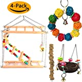 PUPOUSE 4 Pieces Bird Parakeet Toys - Bird Hanging Toys with Bell Wood Climbing Ladder Toy Bird Chew Toys Bird Nest and Perch, for Conures Parrots Parakeets Cockatiels Macaws Finches