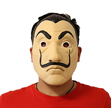 Salvador Dali Face Mask - La Casa De Papel Mascara - Face Latex Mask Cosplay -