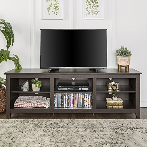 "WE Furniture 70"" Espresso Wood TV Stand Console for Flat Screen TV"