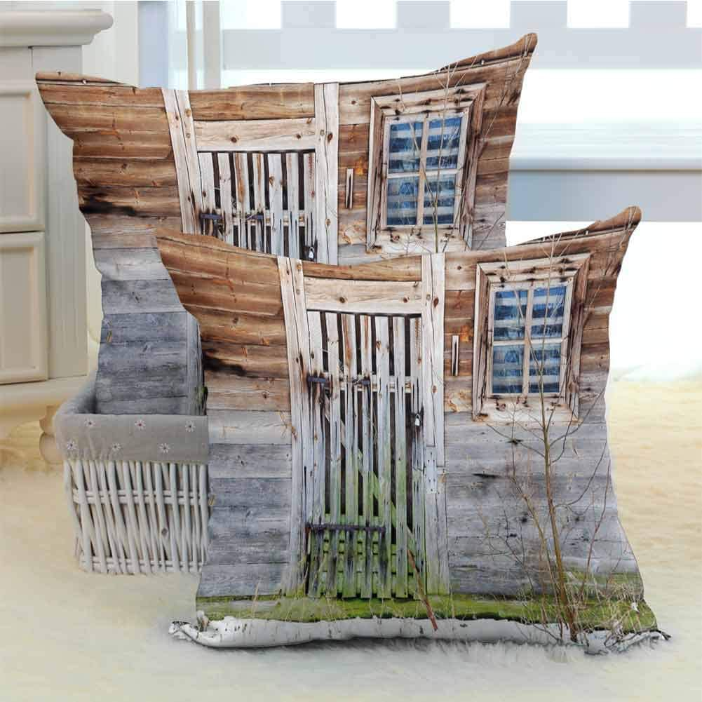 Anzonto Couch Throw Pillow Covers Neglected Old Farmhouse Rustic Wooden Door And Window Rural Brown Green Silver 2 Packs W24 Xl24 Home Kitchen