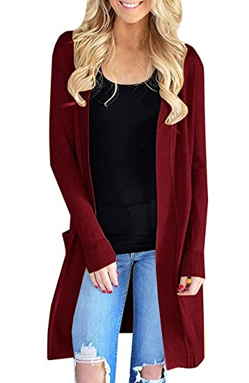 Gamisote Womens Knit Cardigan Sweaters Open Front Long Sleeve Tops