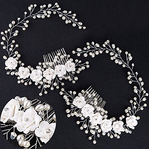 CosCosX 1 PCS Elegant Bridal Wedding Jewelry Clasps Crystal Rhinestone Pearl Flowers Diamond Hair Comb Pin Handmade Brushed Hair ()