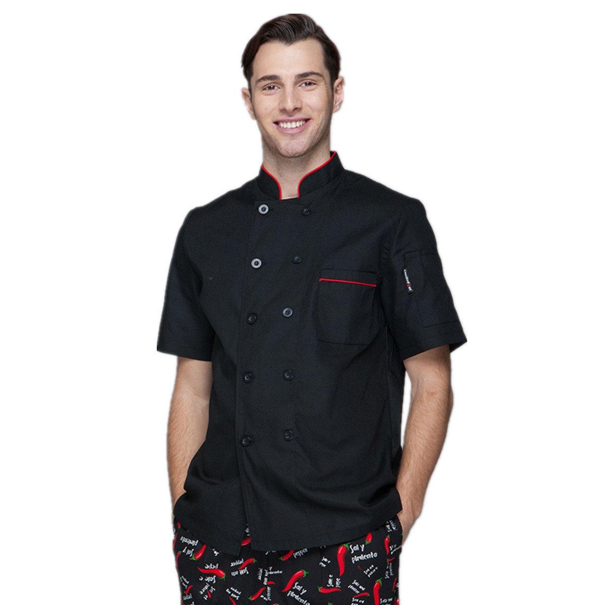 XINFU Chef's Short Sleeve Summer Uniform Comfortable and Wear Chef Coat Restaurant Kitchen Chef Jacket