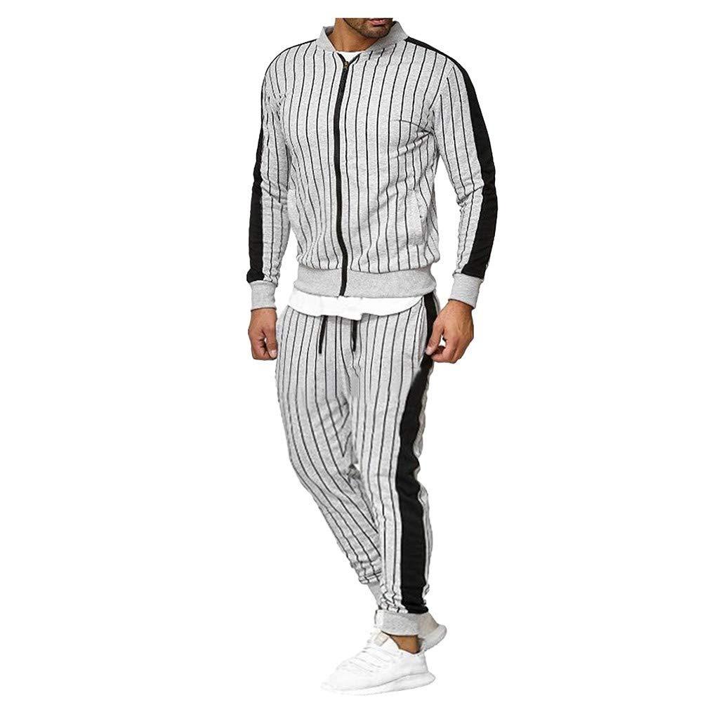 VESNIBA LCC Fashion Men's Casual Sports Zipper Long-Sleeved Sweater Pants Suit Sweatshirt Gray