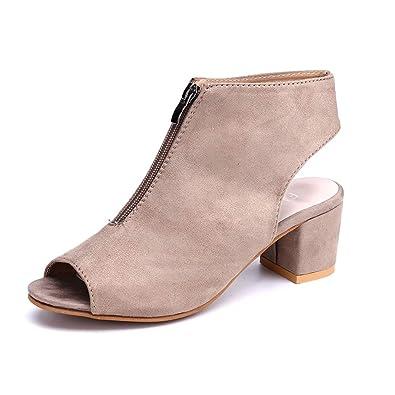 7ec65c75c605b7 Damen Pumps Slingback Schuhe Blockabsatz Plateau Frauen Kurzschaft Stiefel ohne  Absatz 6cm Sommer Frühling Party Sandalen
