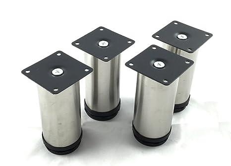 Design61 - Set di 4 piedini regolabili in acciaio inox, gambe per mobili,  piedino base Ø 50 mm, altezza 120-130 mm