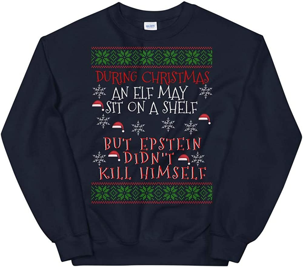 Libertee Epstein Didnt Kill Himself Funny Navy Christmas Sweater for Men and Women