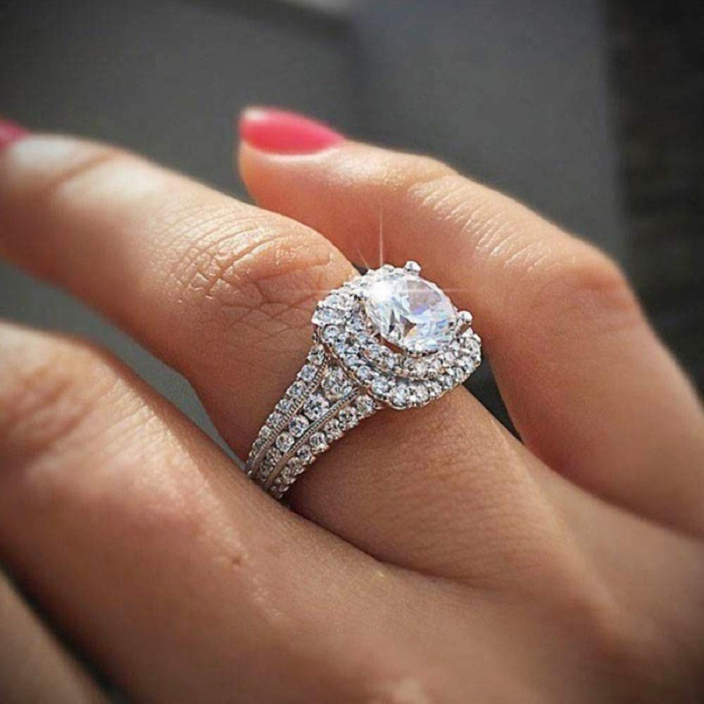 Cubic Zirconia Promise Halo Engagement Wedding Band Ring for Women