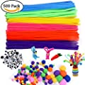 500Pcs Pipe Cleaners Craft Set,Including 100 Pcs Chenille Stems with 200 Pcs Pom Poms Craft and 200 Pcs Wiggle Googly Eyes Self Adhesive,Assorted Colors and Assorted Sizes for DIY Art Craft
