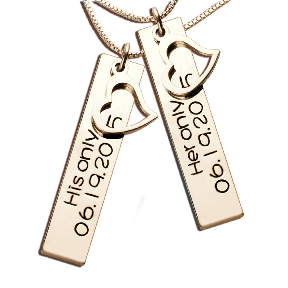 Personalized Couples Necklaces Engraved Your Date Hand Stamped His /& Her Bar Necklace Vertical Name Jewelry