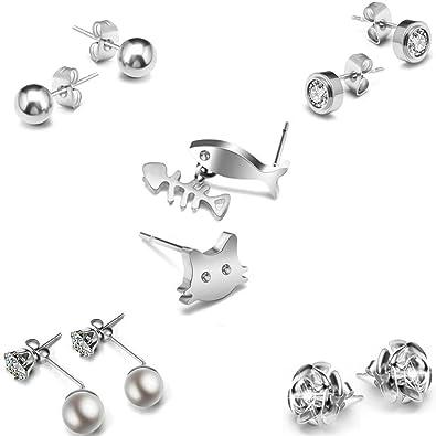 Amazon Com Titanium Stud Earrings For Women Girls Earrings Surgical