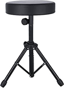 EastRock Universal Drum Throne,Padded Drum Seat Rotatable Height Adjustable drumming Stools with Anti-Slip Feet for Adults and Kids Black (Black)