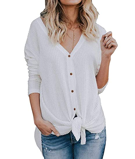 Image Unavailable. Image not available for. Color  Ecolley Casual Button  Down Sweaters Shirts Front Knot Knit Henley Long Sleeve V Neck ... a91429003