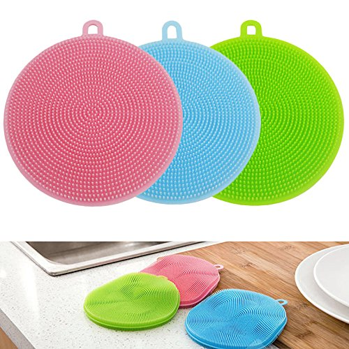 Dishwashing Brush Silicone Sponge Dish Brush Cleaner Shinefuture Multipurpose Antibacterial Silicone Dishwashing Scrub Scrubber Sponge Heat-resistant Mat Gloves Drink Coatsers Set of (Antibacterial Multi Purpose Cleaner)