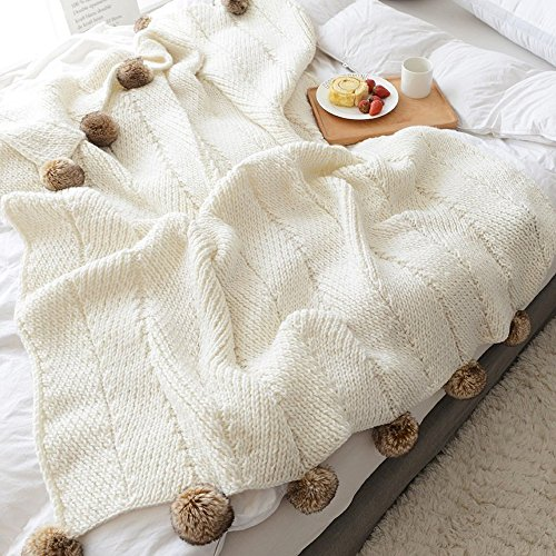 Knit Throw Blanket Handmade Super Soft Household Decorative Crocheted Cover Air Condition Quilt for Bedroom Sofa/Bed/Couch/Car/Living Room/Office with PomPom (51.18