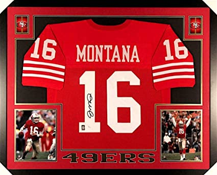 newest collection 3a2ac 7754d Joe Montana Signed 49ers 35x43 Custom Framed Jersey (JSA COA ...
