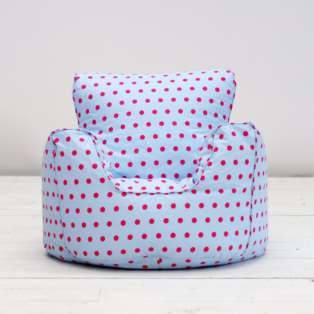 Childrens Kids Girls Cotton Blue Pink Spots Butterfly Chair Seat Bean Bag Filled Amazoncouk Kitchen Home