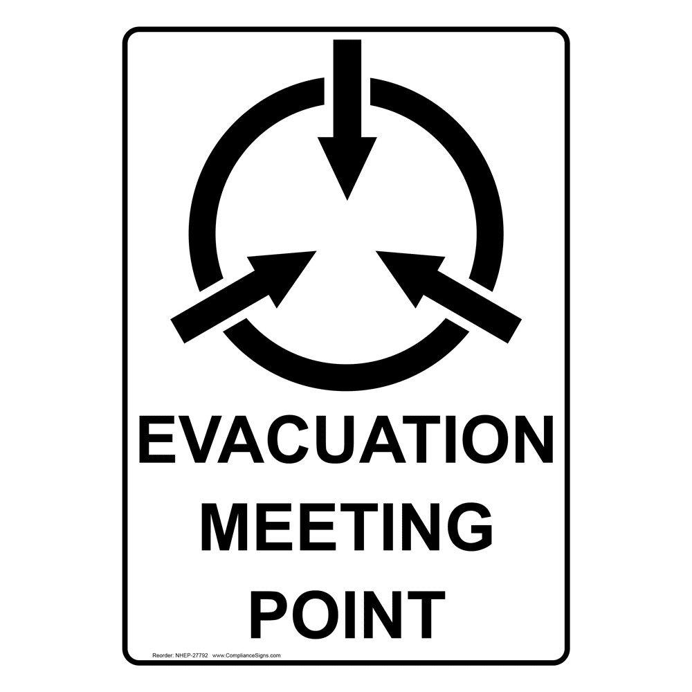 Compliancesigns Vertical Aluminum Evacuation Meeting Point Sign 14