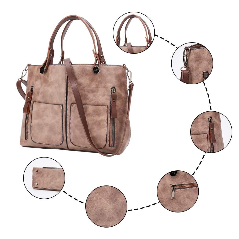 Women Bag Stylish Top-Handle Handbags Lady Fashion Big Purse Shoulder Crossbody Bags (Pink)