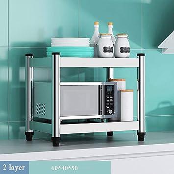 YXLYLL - Estantes de Cocina y estantes, de Acero Inoxidable, para el Suelo del microondas, Horno, Estante de Almacenamiento para el hogar, Armario de Cocina, Aleación, Color, Two60cm 0.00watts: Amazon.es: Hogar