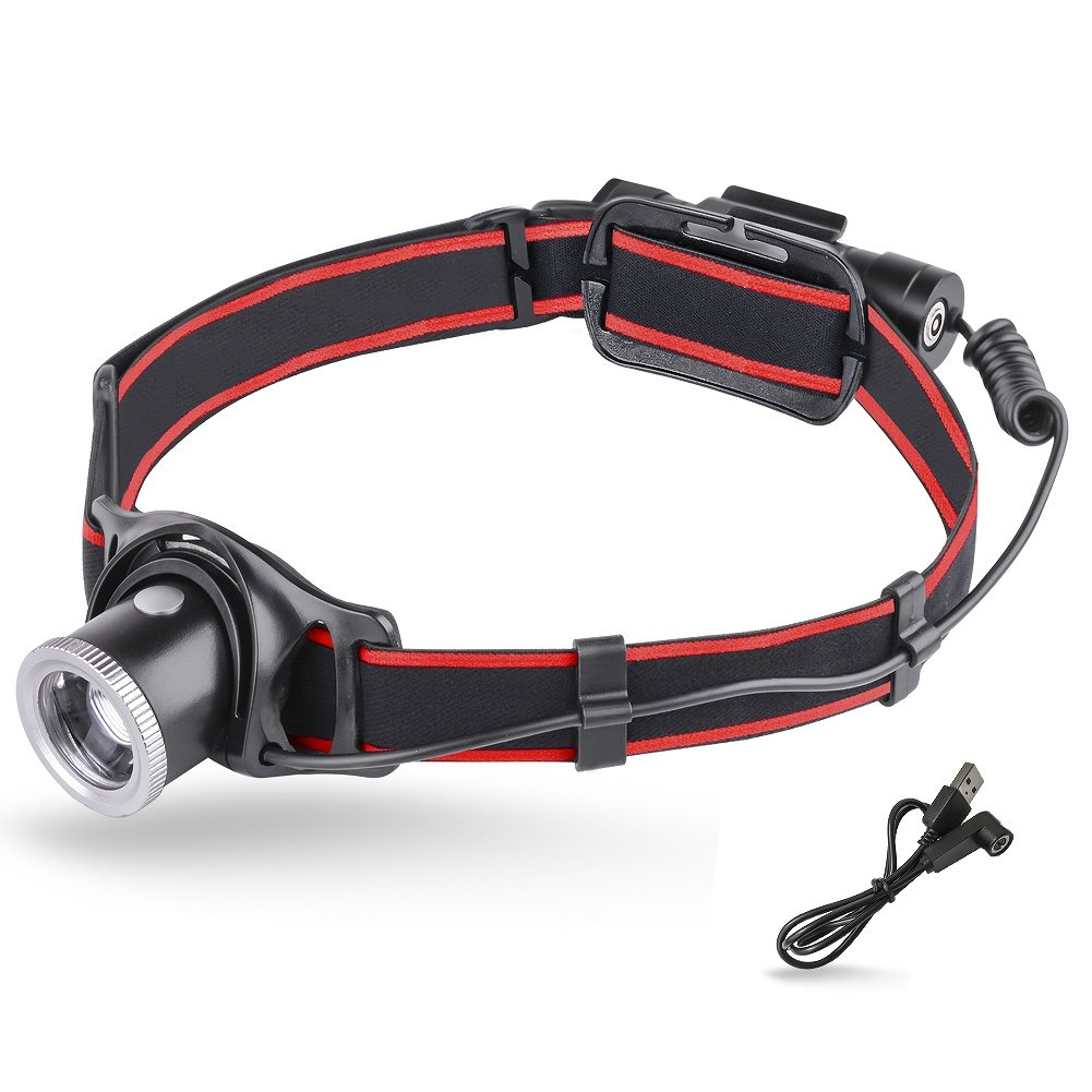 MCCC Super Bright 550 Lumens LED Headlamp Lightweight 90° Angle Adjustable Focus Zoomable Lens Headlight 18650 Rechargeable Battery IP64 Waterproof Perfect for Outdoor Activities