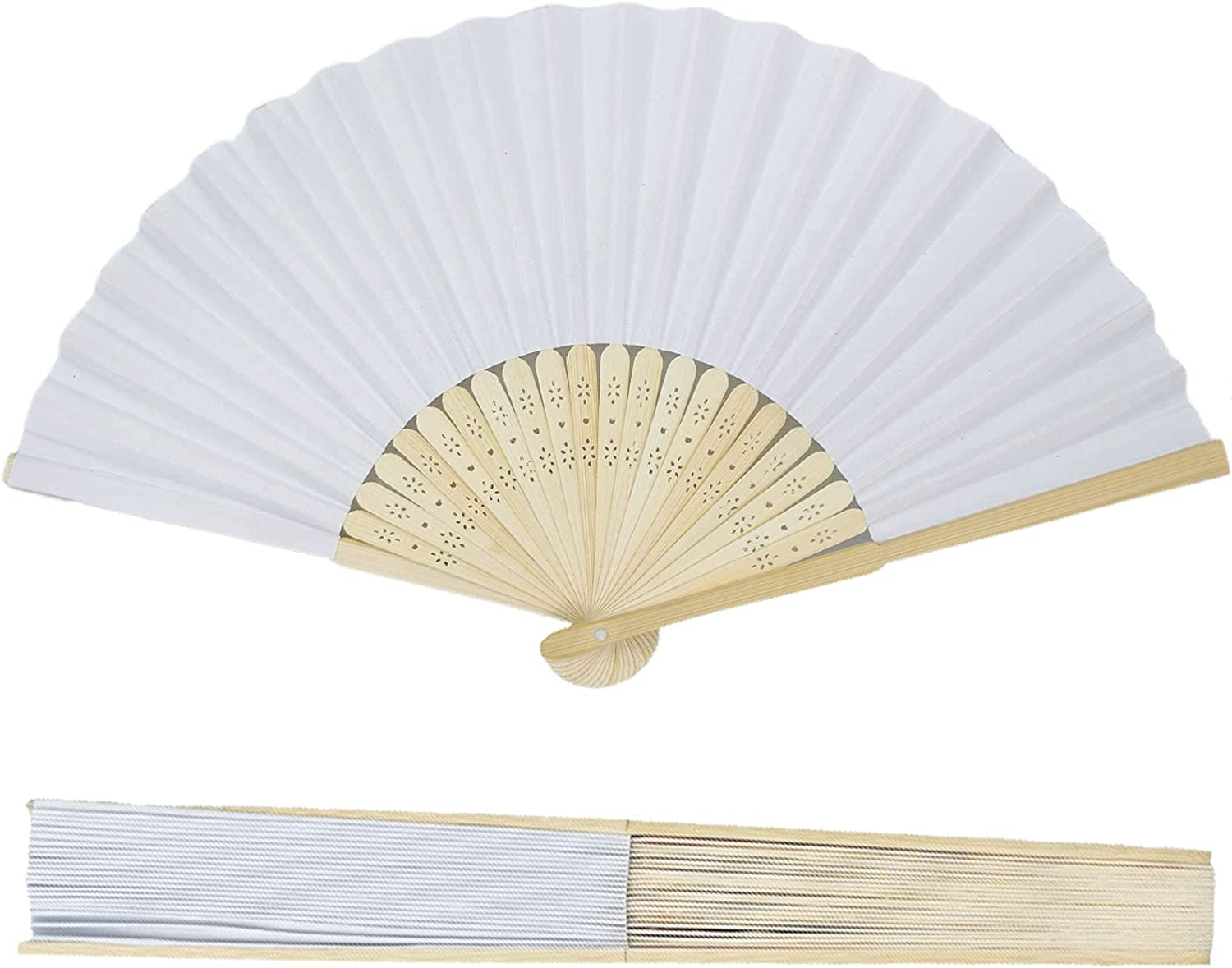 cozyroom (Set of 12) White Hand Folding Fans Bamboo Paper Wooden Fan Wedding Events Decor Oriental Crafts Party Favors with Gift