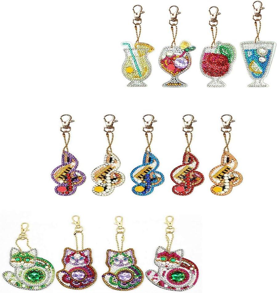 UM UPMALL - Kit de pintura de diamante para adolescentes y accesorios para bolsos de niños, múltiples formas de diamantes, zumo musical y gato, 13 piezas